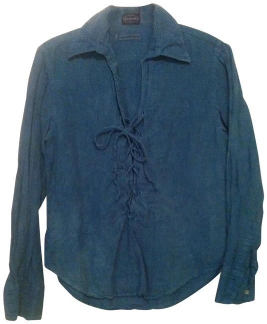 Preload https://item1.tradesy.com/images/scoop-nyc-indigo-dye-lace-up-blouse-size-4-s-22913845-0-1.jpg?width=400&height=650