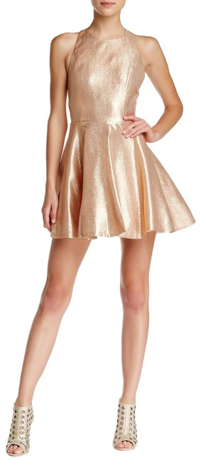 Preload https://item2.tradesy.com/images/alice-olivia-gold-lia-metallic-silk-fit-and-flare-short-night-out-dress-size-6-s-22913851-0-1.jpg?width=400&height=650