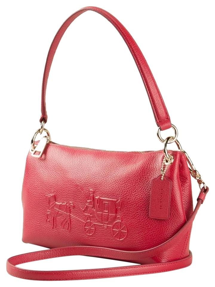 Coach Charley 33521 Embossed Horse and Carriage Hobo Shoulder Red ... b836e35e206e3