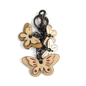 Coach 24056 Studded Tan Leather Butterfly Bag Charm Key Chain