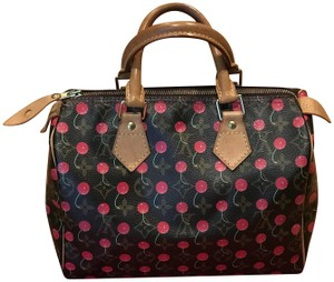 Louis Vuitton Satchel in Brown with Red Smiling Cherries