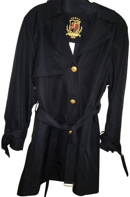Preload https://item1.tradesy.com/images/mondi-very-dark-navy-blue-with-golden-buttons-and-built-in-belt-raincoat-size-6-s-22913925-0-1.jpg?width=400&height=650