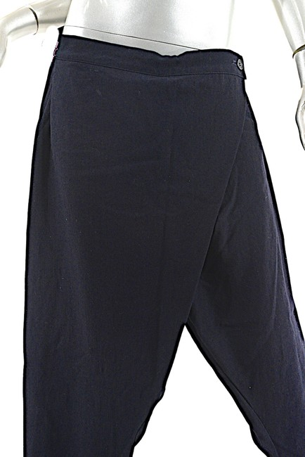 Rundholz Wrap Front Narrow Leg Relaxed Pants Navy