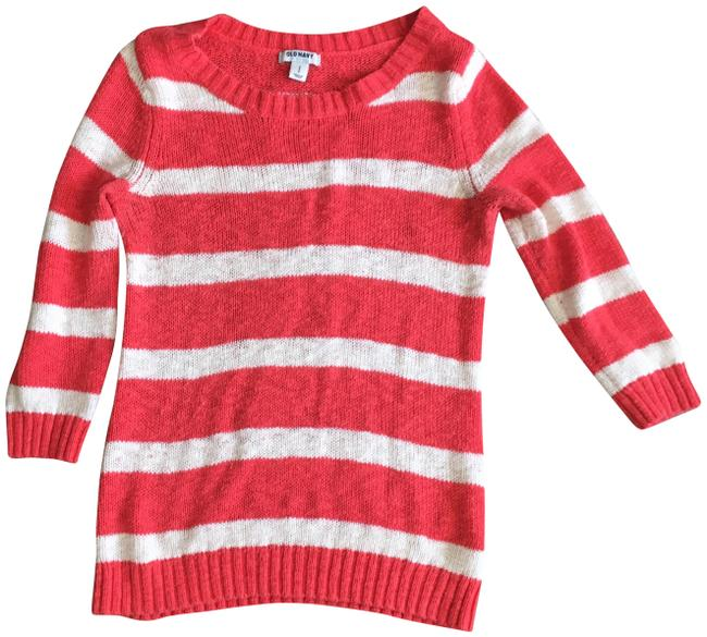 Preload https://img-static.tradesy.com/item/22914092/old-navy-orange-white-stripped-34-sleeve-crewneck-sweaterpullover-size-4-s-0-1-650-650.jpg