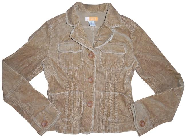 Tulle Buttons Cord Stretch Boho Tan, Camel Jacket