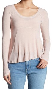 Free People Scoop Neck Long Sleeves Side Vents Super Soft Luxurious T Shirt NWT PInk