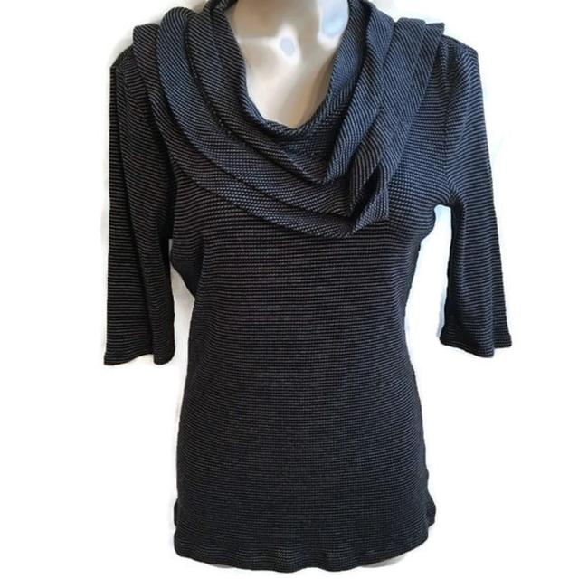 Preload https://item3.tradesy.com/images/deletta-black-and-grey-drape-neck-blouse-size-12-l-22914272-0-0.jpg?width=400&height=650