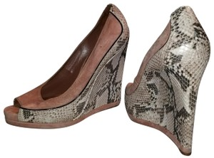 Tory Burch Pink suede upper with snake print heel Wedges