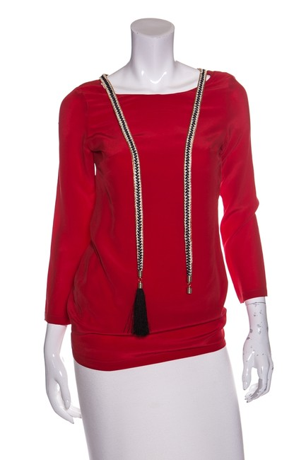 Preload https://item1.tradesy.com/images/red-silk-tassle-neckline-blouse-size-2-xs-22914385-0-0.jpg?width=400&height=650