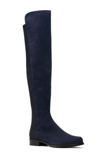 Stuart Weitzman 5050 Suede Over The Knee Navy Blue Boots