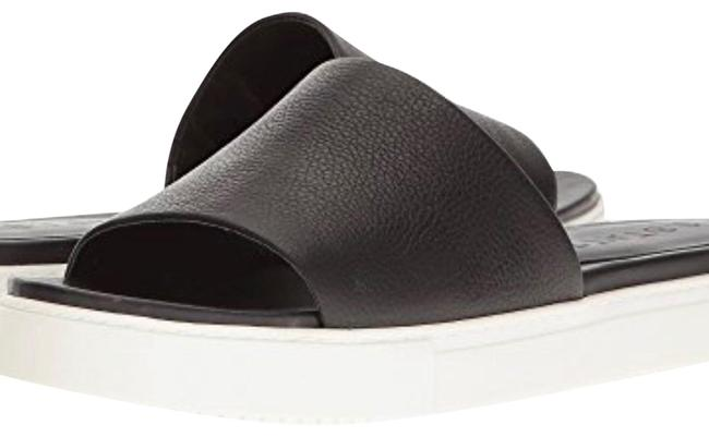 Item - Black/White Leather Top Slide Sandals Size US 7 Regular (M, B)