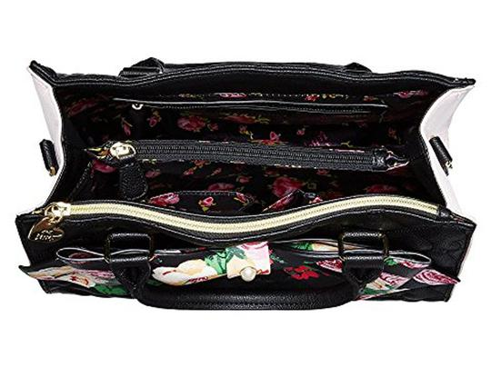 Betsey Johnson Floral Bow Satchel in BLACK
