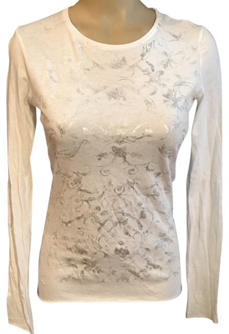 Preload https://item1.tradesy.com/images/tahari-white-and-silver-long-sleeve-tee-shirt-size-2-xs-22914515-0-1.jpg?width=400&height=650