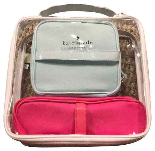 Preload https://img-static.tradesy.com/item/22914627/kate-spade-blue-pink-clear-weekendtravel-bag-0-1-540-540.jpg