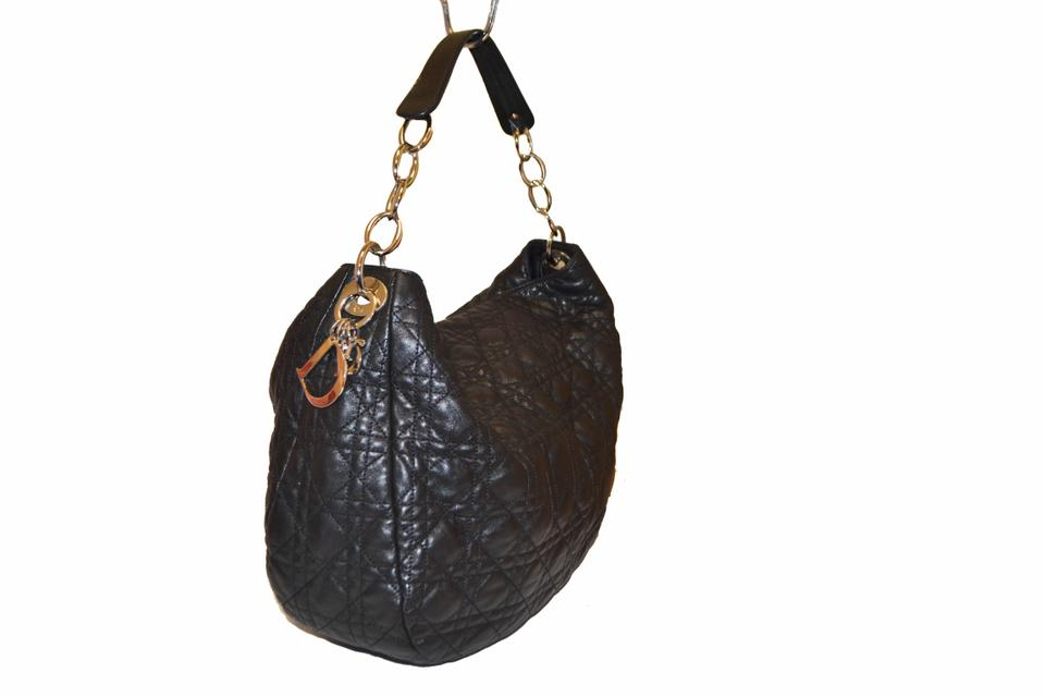 97dbcf7418bc Dior Lady Dior Christian Cannage Quilted Lambskin Leather Black Hobo Bag -  Tradesy