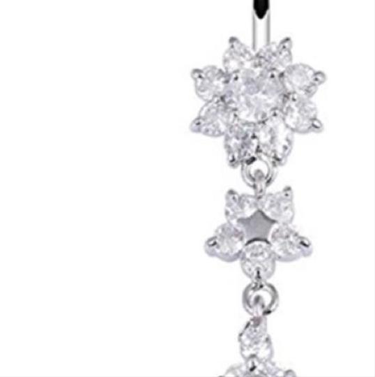 Queenesthershop Sexy Dangle Bars Belly Button Rings Belly Piercing CZ Crystal Belly Ring