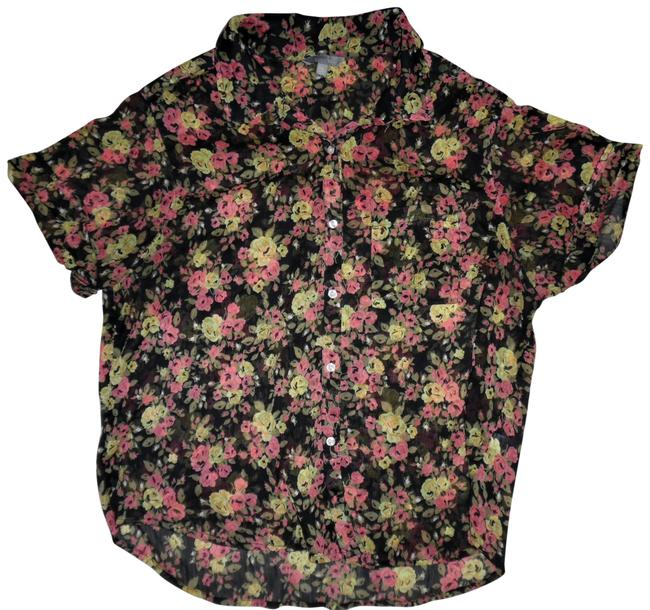 Preload https://item3.tradesy.com/images/rubbish-black-rose-yellow-beige-floral-sheer-button-up-short-sleeved-blouse-size-16-xl-plus-0x-22914657-0-1.jpg?width=400&height=650