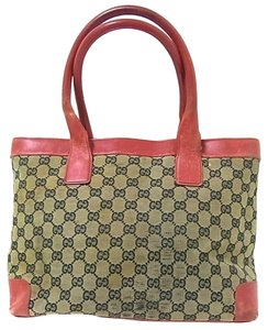 Gucci Perfect Size Great Everyday Excellent Vintage Rare Color Combo Comes With Dust Tote in navy blue large G logo print canvas & red leather