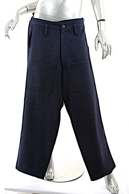 Y-3 Y's Yohji Yamamoto Wool Blend Clean Front Relaxed Pants Navy