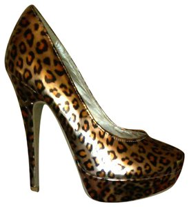 AMI Clubwear High Heels Size 6 Stilettos Leopard Boots Gold Platforms - item med img