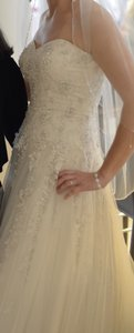 Stella York Ivory Silver Lace On Ivory Tulle Over Champagne Gown/Zip Up Gown/ Traditional Wedding Dress Size 12 (L)