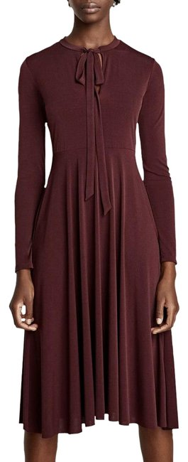 Preload https://item5.tradesy.com/images/zara-dark-maroon-long-sleeves-and-bow-at-the-neck-mid-length-casual-maxi-dress-size-8-m-22914769-0-1.jpg?width=400&height=650