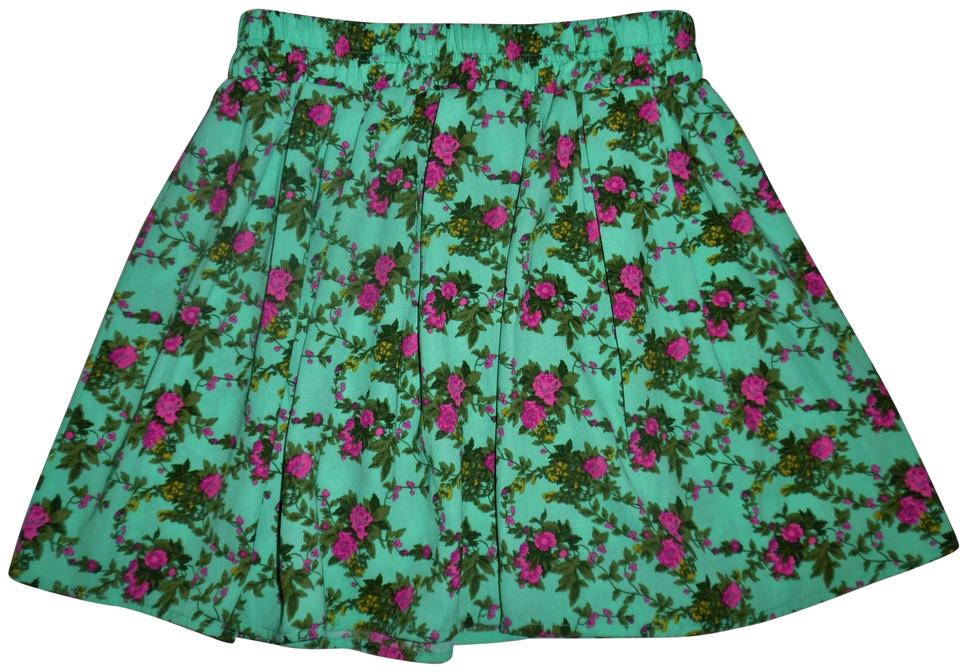 b1b951a2c2 Forever 21 Teal Green Olive Rose Beige Floral Pleated Short Skirt ...