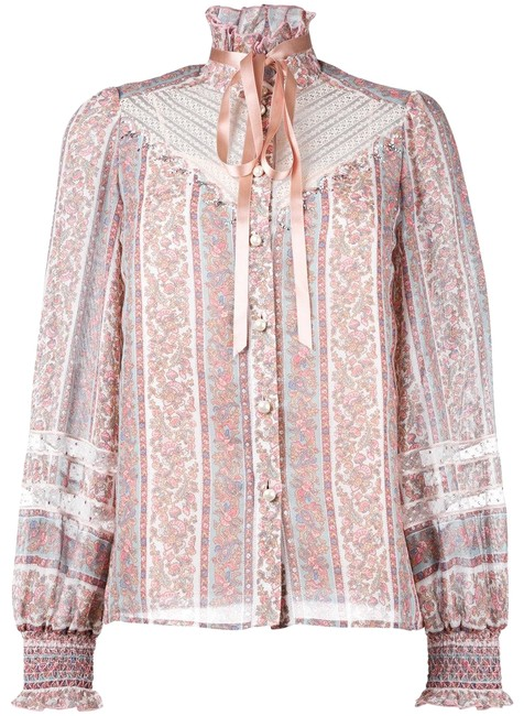 Item - Multicolor Silk Cotton Victorian Cryatal Embellish Shirt Button-down Top Size 8 (M)