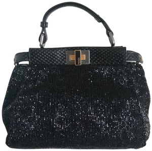 Fendi Peekaboo Beaded Python Mini Satchel in black