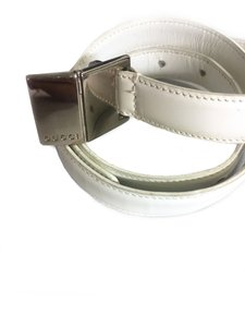 Gucci Vtg. Athentic GUCCI white leather Belt w Silver Buckle