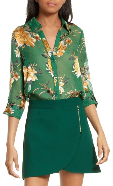 """Item - Green Multi New """"Eloise"""" Sheer Chiffon Floral Print Button-down Top Size 8 (M)"""