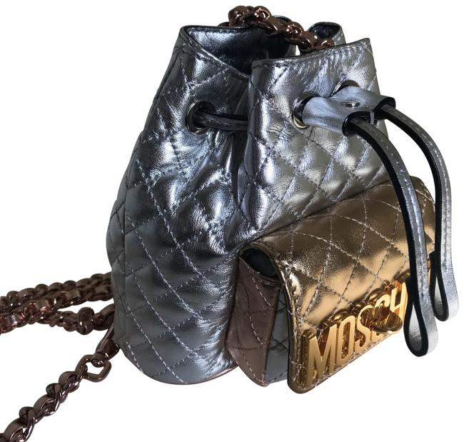 Item - Quilted Mini Silver Leather Backpack