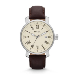 Fossil Fossil BQ1016 Rhett Cream Dial Brown Leather Strap Men's Watch