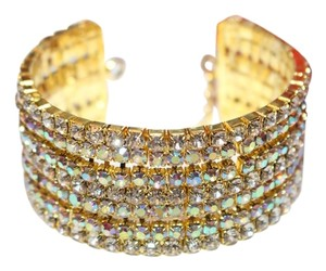 Bella Tiara gold rhinestone crystal champagne cuff bangle style wedding bracelet