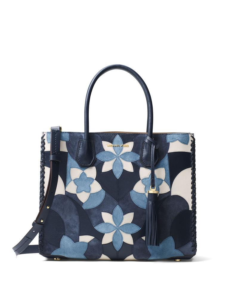 fd775556b3 Michael Kors Mercer Large Floral Patchwork Tote Suede 30t7gm9t Navy ...