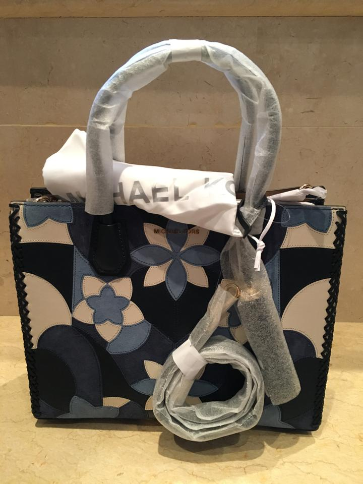 6ef4a5f34e Michael Kors Mercer Large Floral Patchwork Tote Suede 30t7gm9t Navy Leather  Satchel - Tradesy