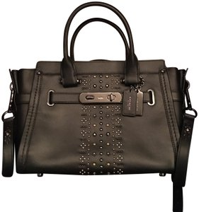Coach Studded Leather Satchel in Black