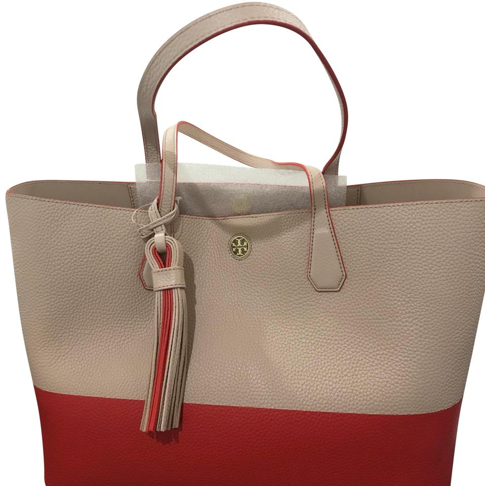 20084e7837e Tory Burch Perry Colorblock Samba Light Oak Leather Tote - Tradesy