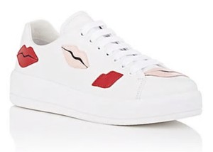 Prada Sneakers Leather Sneakers Lip Appliqued Sneakers White Athletic