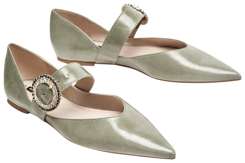 35aa5ce5575d Zara Green Embellished Bejewelled Brooch Point Leather Flats Size US ...