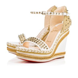 Christian Louboutin Stiletto Platform Spike Madmonica white Wedges