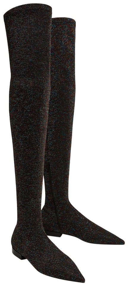 Zara Black Flat Glitter Over The Knee Boots/Booties Size US 5 Regular (M, B)