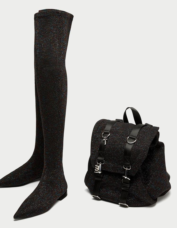d983e5bbc06 Zara Black Flat Glitter Over The Knee Boots Booties Size US 5 ...