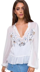 Somedays Lovin Split Neck Frilled Collar Embroidery + Sequins Silver Bell Ties Frilled Hemline Top Ivory