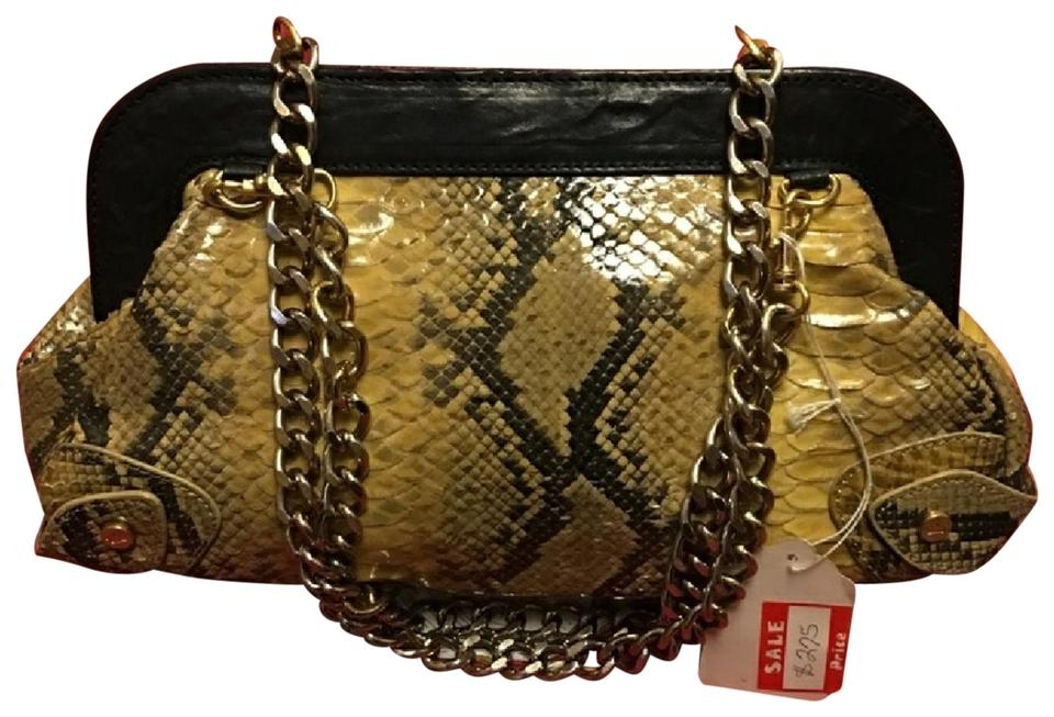 6c23171f41 Elaine Turner Python W/Heavy Chains Pink Interior Cross Body Bag ...