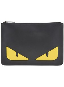 Fendi Case Monster Buggy Pouch black w/ yellow Clutch