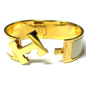 Hermès Wide H Clic Clac White Enamel Gold Hardware Bracelet Bangle w Box