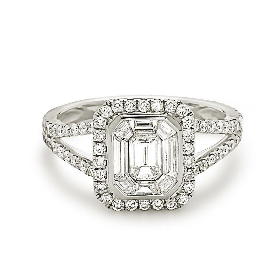 1cd577c07246 Other Split Shank halo style emerald cut invisible set cluster engagement  Image 0 ...