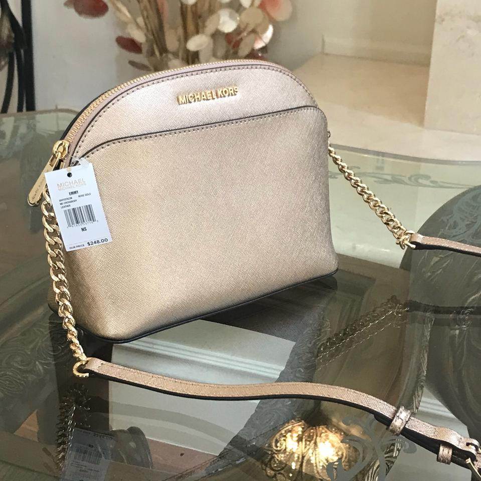 dc288c0af867a Michael Kors Emmy Rose Gold Saffiano Leather Cross Body Bag - Tradesy