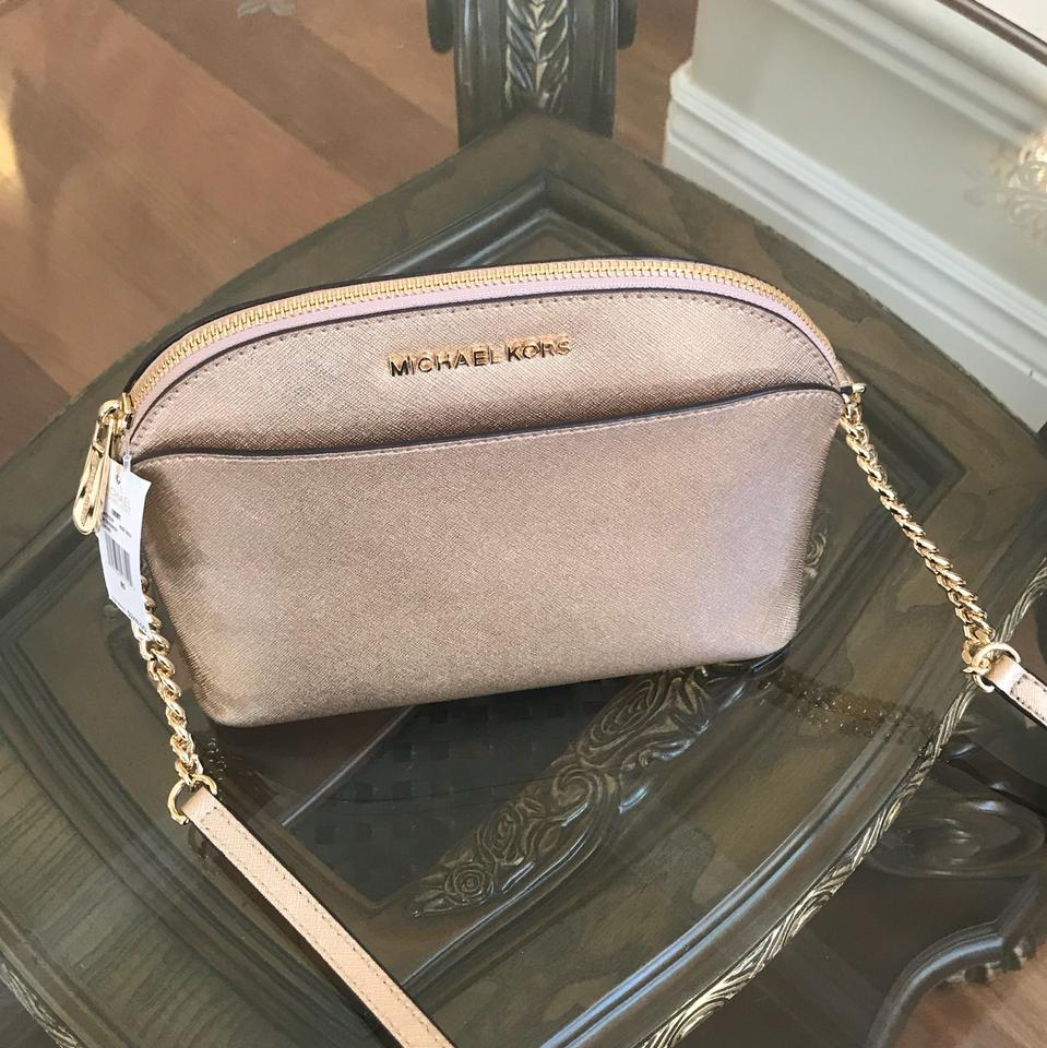 2d90f08c5e66 ... best price michael kors emmy rose gold saffiano leather cross body bag  tradesy f9a38 7d3dc